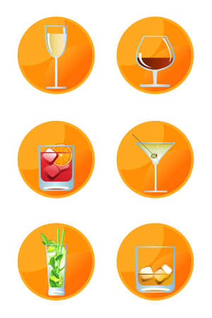 Alcoholic drink icons isolated on white background Vector