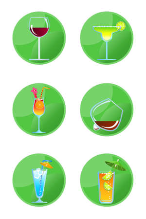 highball: Alcoholic drink icons isolated on white background