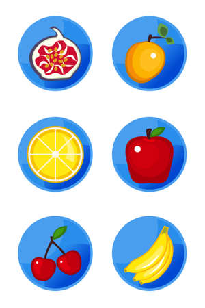 Vector fruit icons isolated on white background Vector