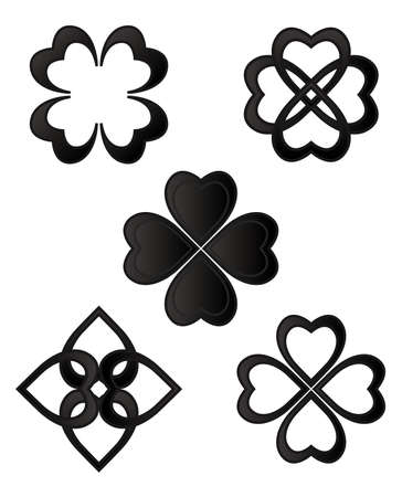 clovers: Ornament icons isolated on white background