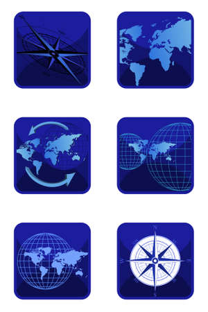 Vector compass and world icons isolated on white background Vector
