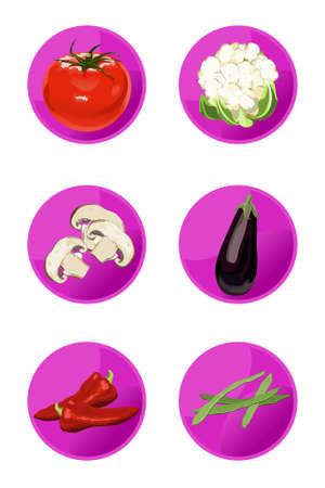 Vector vegetable icons isolated on white background Stock Vector - 5789235