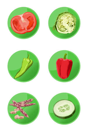 Vector vegetable icons isolated on white background Vector