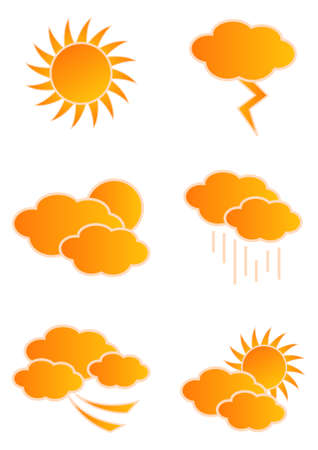 partly sunny: Vector weather icons isolated on white background Illustration