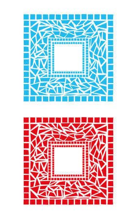 stained glass panel: Illustration of mosaic frames on white background Illustration