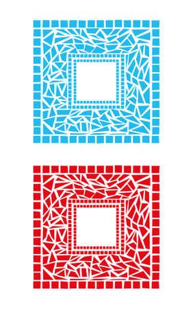 stained glass panel: Illustration of mosaic frames on white background Illustration
