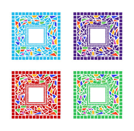 stained glass: Illustration of mosaic frames on white background Illustration