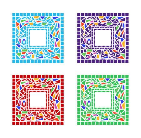 vetrate artistiche: Illustrazione di mosaico fotogrammi su sfondo bianco