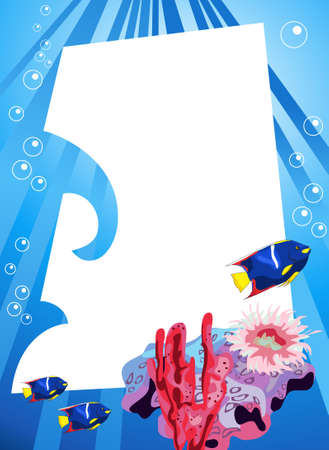 Tropical underwater scene with white space for text Stock Vector - 8610421