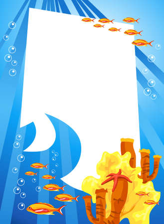 Tropical underwater scene with white space for text Stock Vector - 8610432