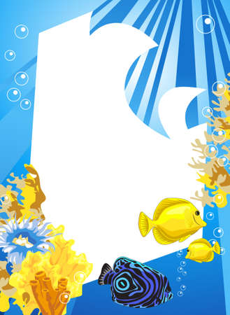 salt water fish: Tropical underwater scene with white space for text