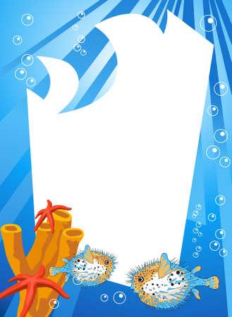 pez globo: Escena submarina tropical con espacio en blanco para el texto