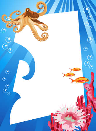 Tropical underwater scene with white space for text Stock Vector - 8610431
