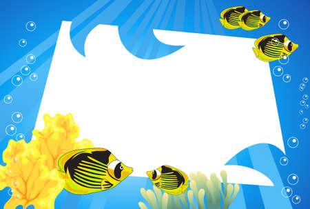 undersea: Sc�ne sous-marine tropical avec un espace blanc pour le texte Illustration