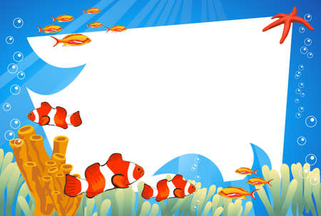 aquatic life: Tropical underwater scene with white space for text