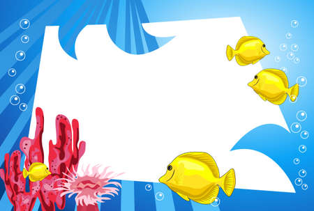 sea plant: Tropical underwater scene with white space for text