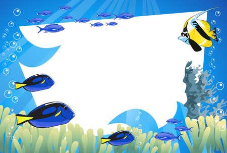 Tropische onderwater scène met witte ruimte voor tekst Vector Illustratie