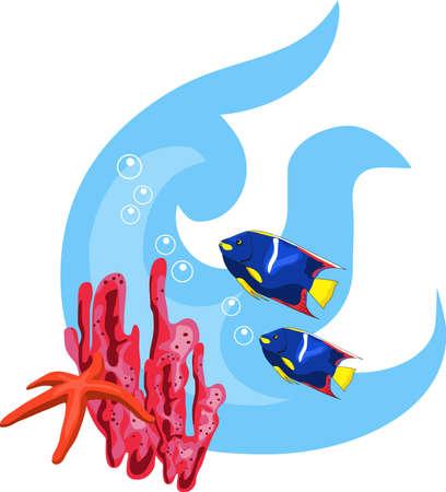 sea animals: Tropical underwater illustration isolated on white background Illustration
