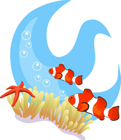 Tropical underwater illustration isolated on white background Vector