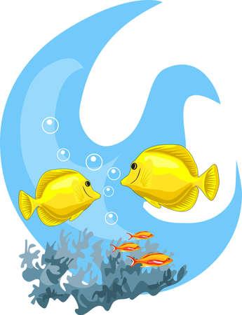 Tropische onderwater illustratie geïsoleerd op witte achtergrond