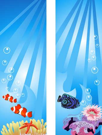Background illustrations of tropical underwater scene Vector