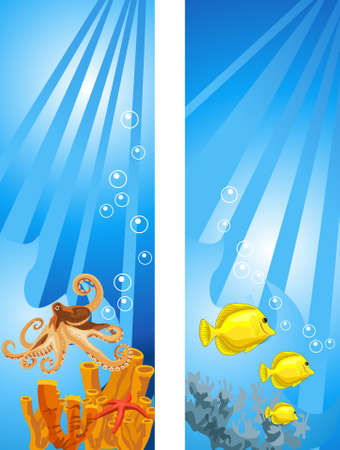 underwater fishes: Background illustrations of tropical underwater scene Illustration