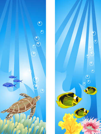 diving: Background illustrations of tropical underwater scene Illustration