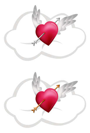 heart pain: Flying Hearts with Arrows
