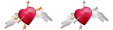 Coeurs avec des flèches de vol.