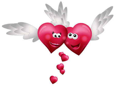 Flying Hearts in Love