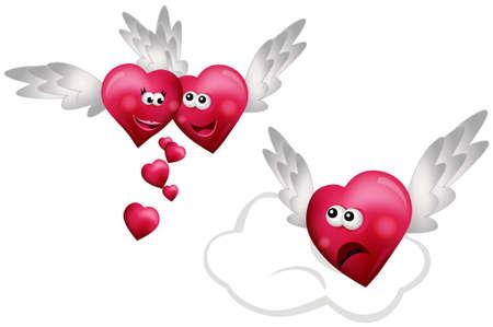jealousy: Three Flying Hearts  Illustration