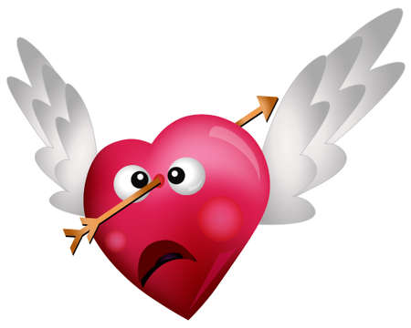 hurting: Flying Heart Shot with an Arrow Illustration