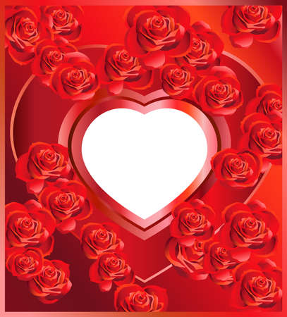 şehvet: Background with Heart and Roses Çizim