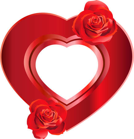 Heart-Shaped Frame with Roses Vector