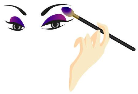 흰색 배경에 고립 된 아이 섀도우와 눈 스케치