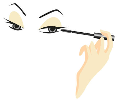 apply: Eyes Sketch with Mascara isolated on white background Illustration