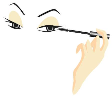 Yeux Sketch avec Mascara isolé sur fond blanc Vecteurs