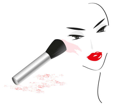 Face Sketch made with Make Up Accessories Vector