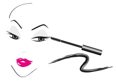 yeux maquill�: Visage croquis r�alis� avec faire des accessoires Illustration