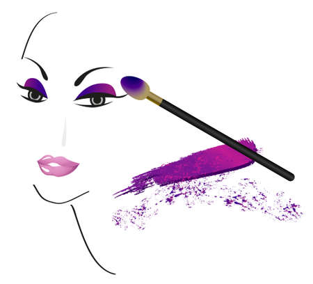 make up: Visage croquis r�alis� avec faire des accessoires Illustration