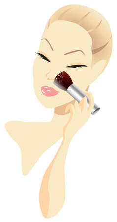 Woman applying make-up isolated on white background Vector
