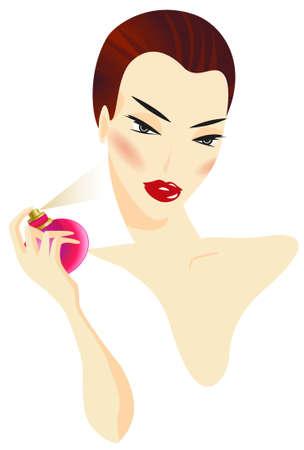 Frau, die das Parfüm lokalisiert auf weißem Hintergrund anwendet