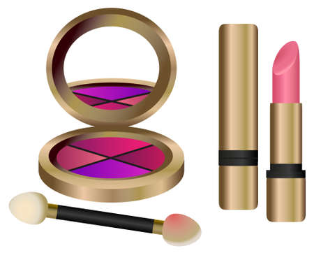 Make up set with eyeshadow and lipstick Stock Vector - 9055792