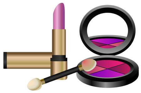 eyeshadow: Make up set with eyeshadow and lipstick  Illustration
