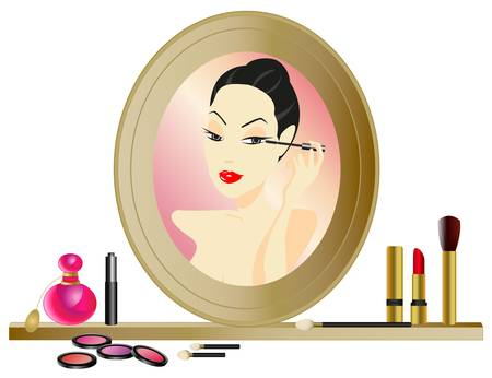 Woman applying make-up in the mirror with cosmetics Vector