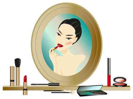 Woman in the Mirror with make up accessories  Vector