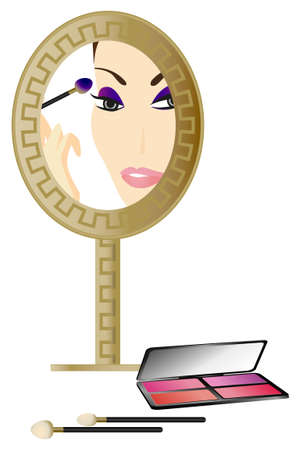 woman make up: Woman in the Mirror with make up accessories  Illustration