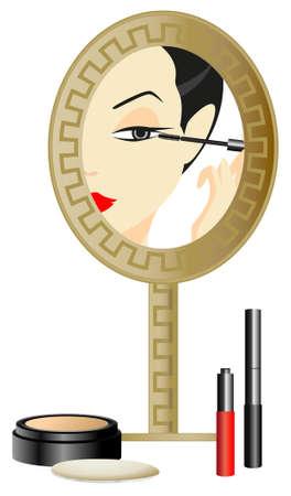Femme dans le miroir avec make up accessoires