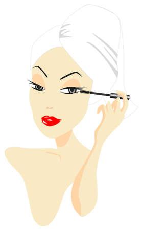 mujer maquillandose: Mujer aplicar maquillaje aislado sobre fondo blanco Vectores