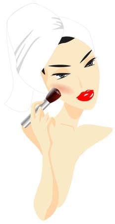 Femme appliquant maquillage isolé sur fond blanc